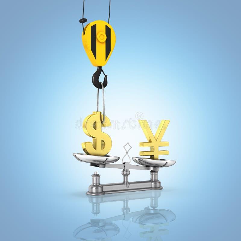 El concepto de dólar de la ayuda del tipo de cambio contra yenes la grúa tira el dólar hacia arriba y baja los yenes en el fondo  libre illustration