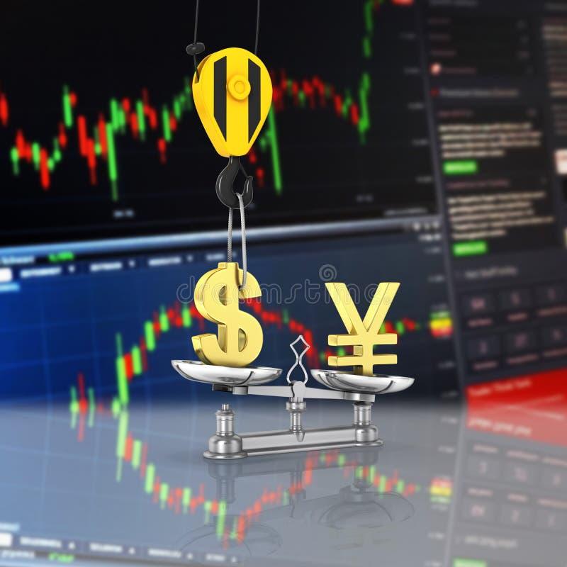 El concepto de dólar de la ayuda del tipo de cambio contra yenes la grúa tira el dólar hacia arriba y baja los yenes en el fondo  ilustración del vector