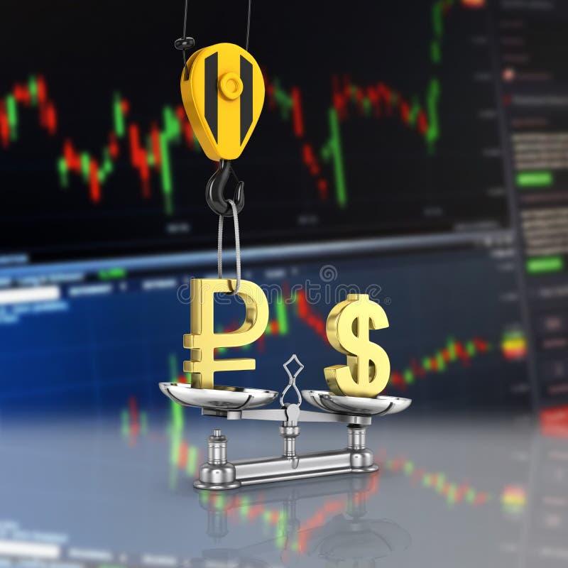 El concepto de d?lar de la ayuda del tipo de cambio contra rublo la gr?a tira la rublo hacia arriba y baja el d?lar esterlina enc stock de ilustración