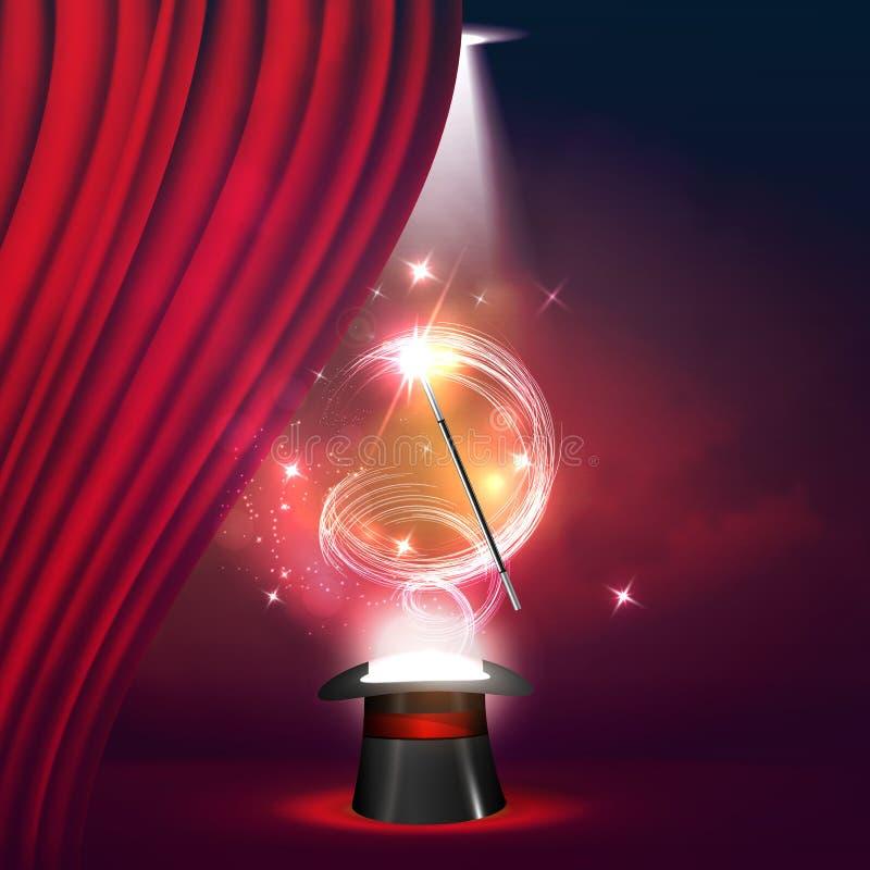 El concepto de demostraciones y de entretenimiento de la magia libre illustration