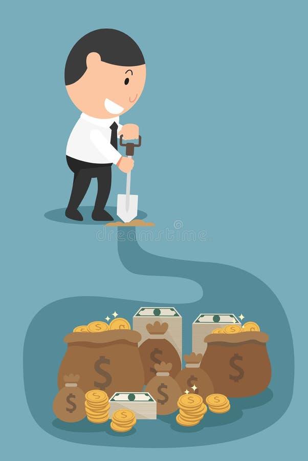 El concepto de dinero y el rico vendrán a usted si usted trabaja la ha stock de ilustración