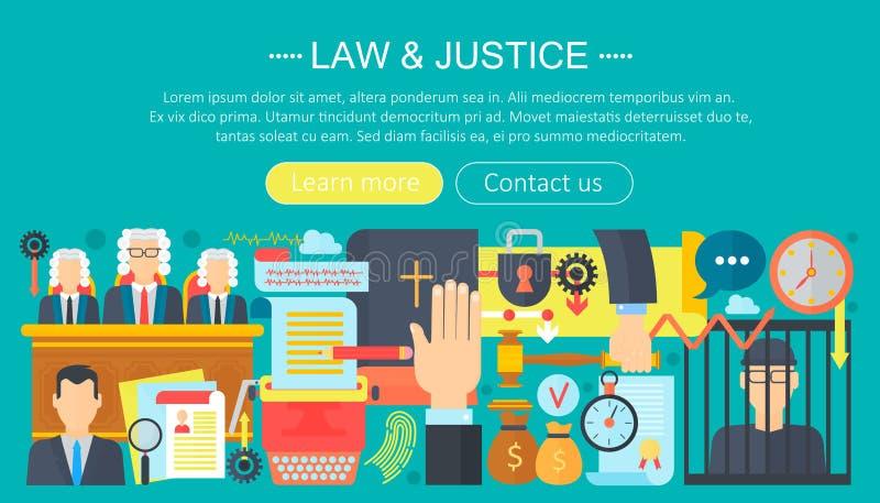 El concepto de diseño de la ley y de la justicia con la plantilla del infographics del tribunal del preso, de la biblia y del tri ilustración del vector