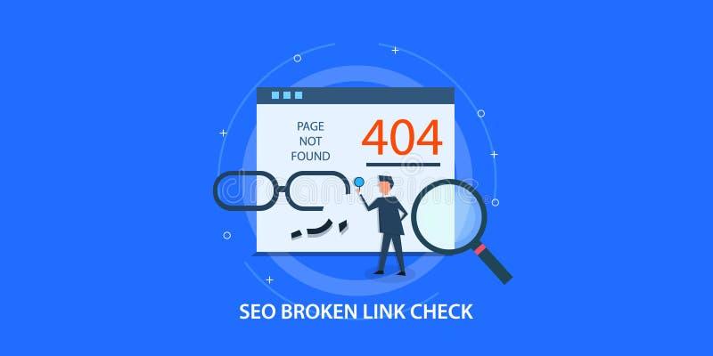 El concepto de diseño plano del seo, página 404 no encontró, vínculo quebrado de fijación del hombre ilustración del vector