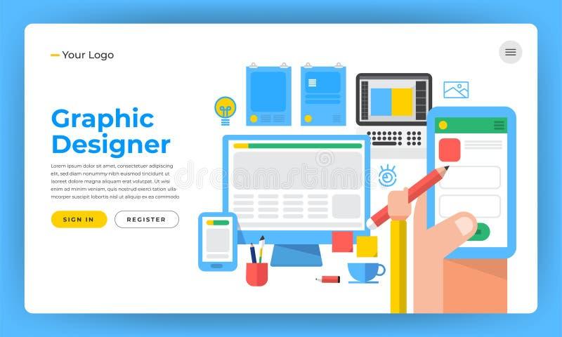 El concepto de diseño plano del sitio web del diseño de la maqueta el diseñador le gusta gra ilustración del vector