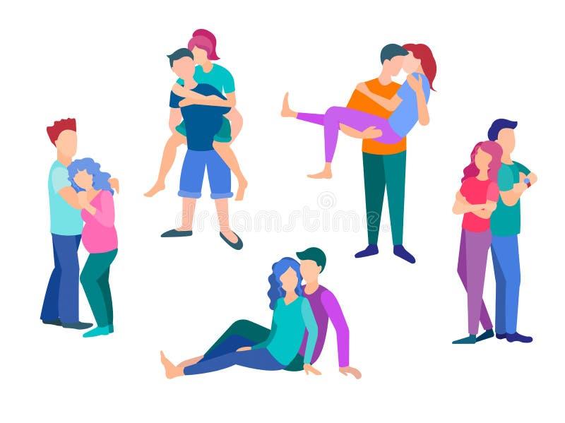 El concepto de diversas actitudes y emociones del amor y del afecto de la gente joven libre illustration