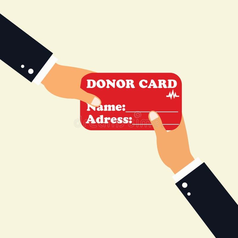 El concepto de dona el órgano Mano que sostiene la tarjeta dispensadora de aceite foto de archivo libre de regalías