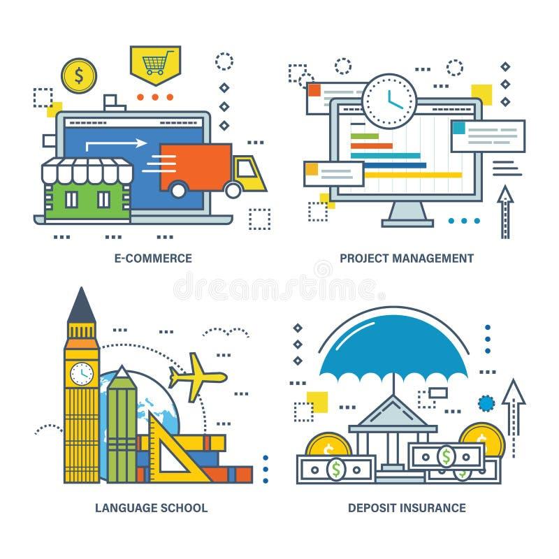 El concepto de ejemplo - comercio electrónico, gestión del proyecto, escuela de idiomas, seguro ilustración del vector