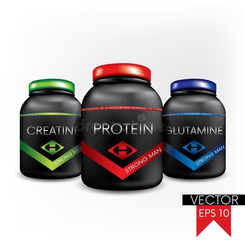 El concepto de empaquetado, de latas y de etiquetas de los suplementos alimenticios de los deportes Ilustración del vector Bellez stock de ilustración