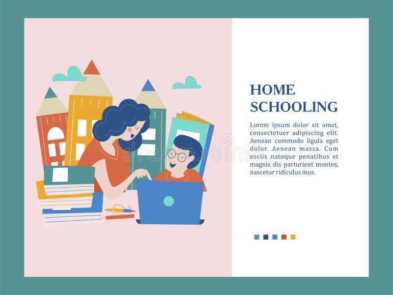 El concepto de enseñar en casa El emblema de enseñar de hogar para las familias grandes Ilustración del vector ilustración del vector