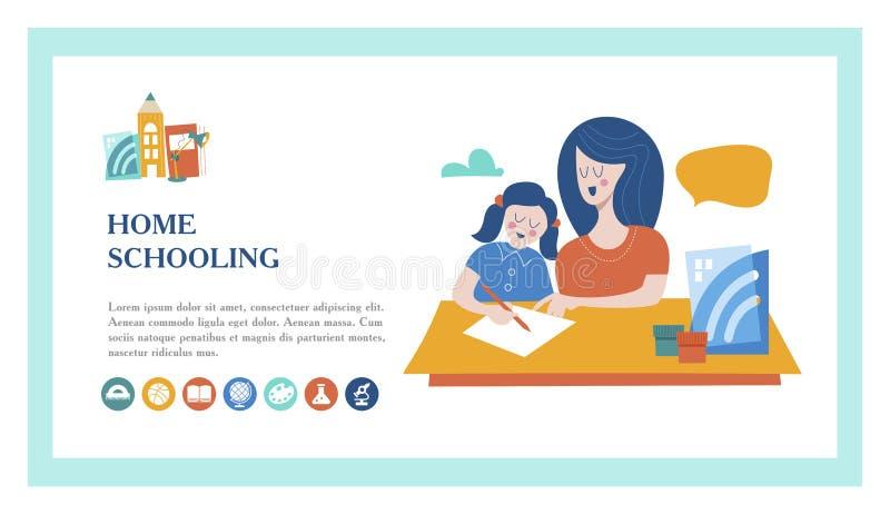El concepto de enseñar en casa Ilustración del vector El emblema de enseñar de hogar para las familias grandes libre illustration