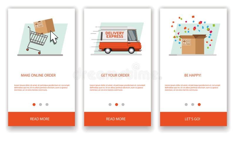 El concepto de envío express en coche para las aplicaciones móviles stock de ilustración