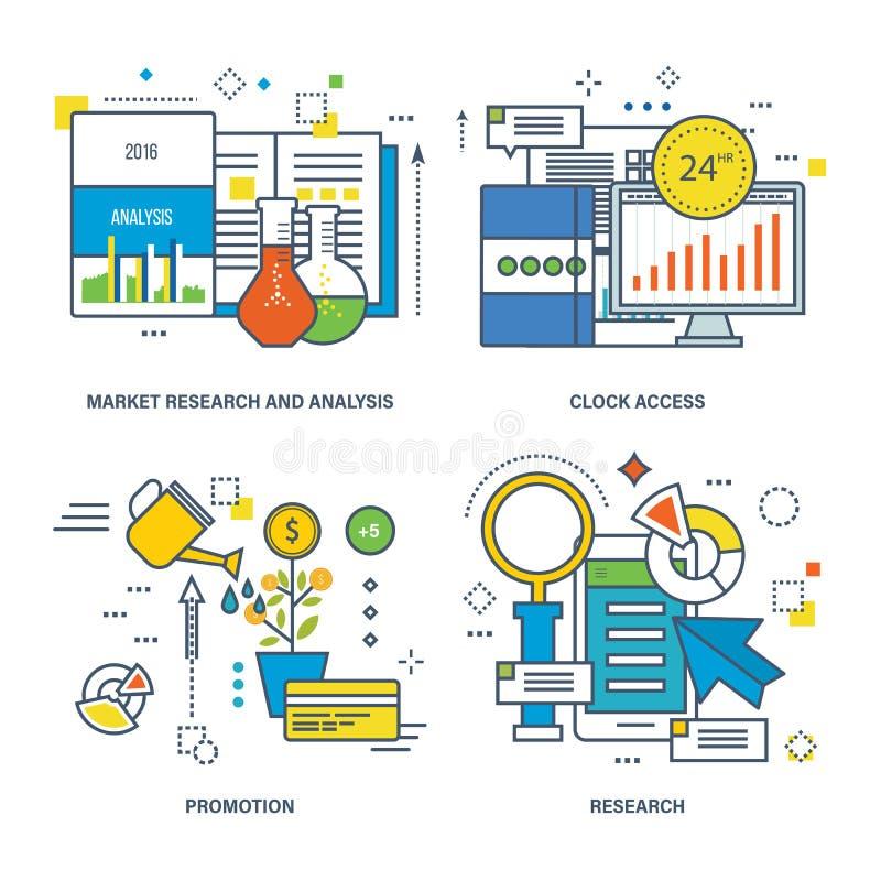El concepto de estudio de mercados, 24 horas registra el acceso, promoción, ilustración del vector