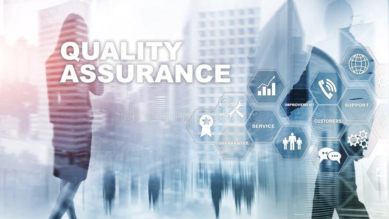 El concepto de garantía y de impacto de calidad en negocios Control de calidad Mantenga la garantía Técnicas mixtas ilustración del vector