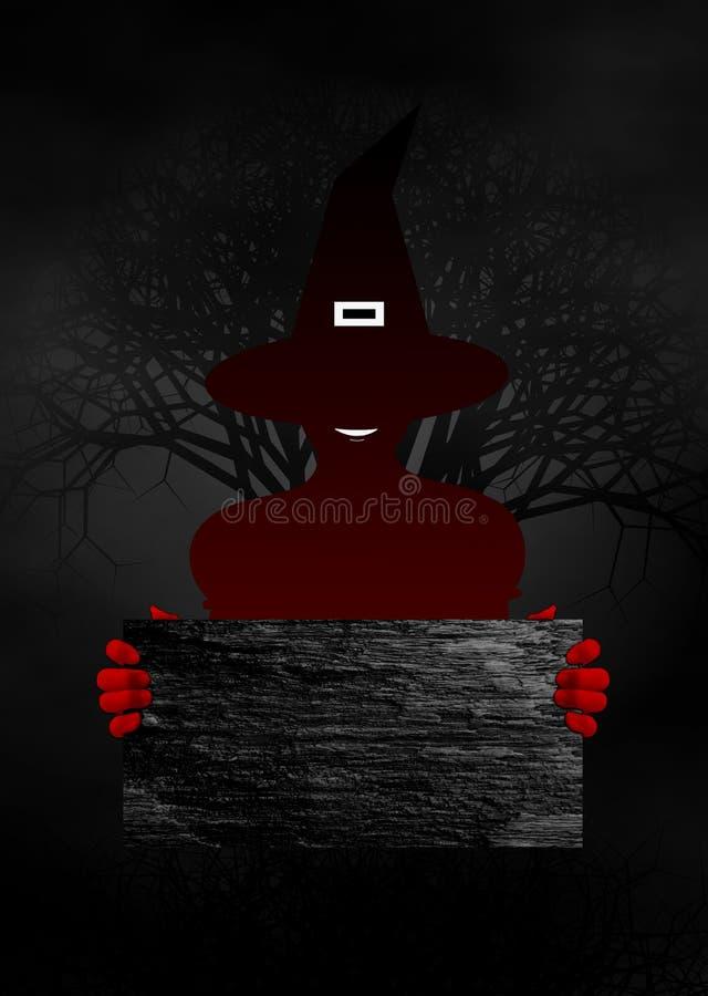El concepto de Halloween con la bruja roja sostiene la placa de madera fotos de archivo libres de regalías