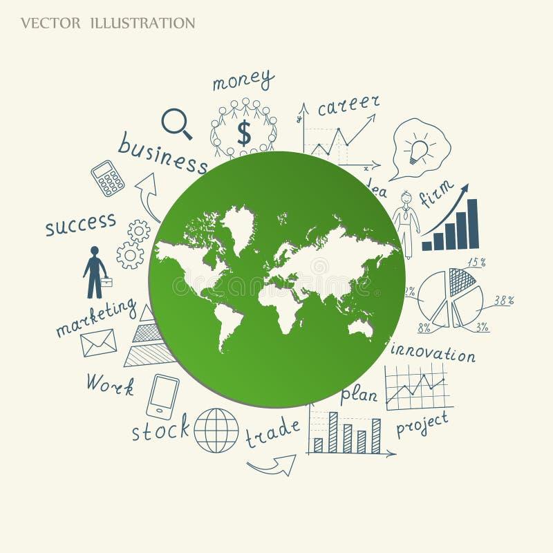 El concepto de ideas del negocio stock de ilustración