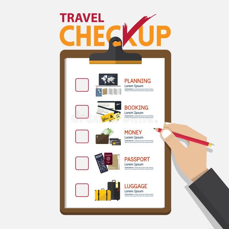 El concepto de infographic para el planeamiento del viaje en tablero del chequeo en diseño plano libre illustration