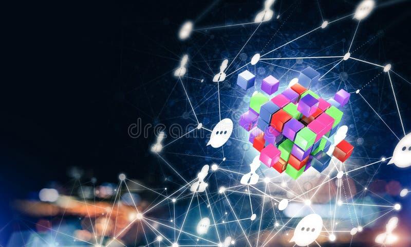 El concepto de Internet y el establecimiento de una red con el cubo digital figuran en d fotos de archivo libres de regalías