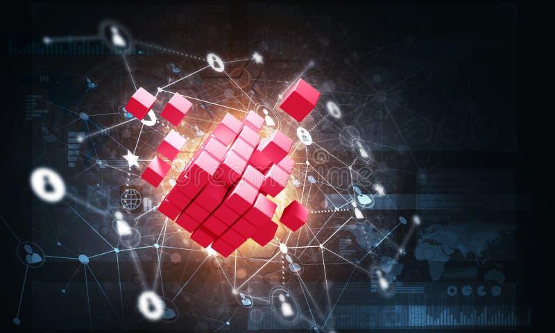El concepto de Internet y el establecimiento de una red con el cubo digital figuran en fondo oscuro stock de ilustración