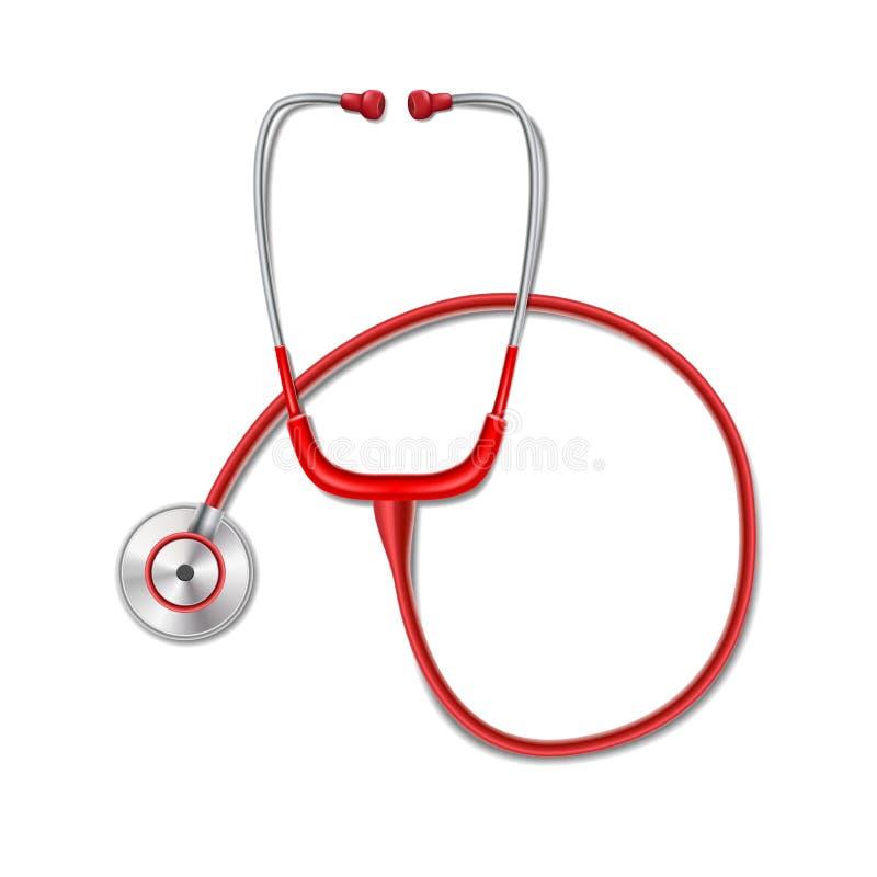 El concepto de la atención sanitaria con la maqueta roja del estetoscopio aisló Equipo realista de la medicina del estetoscopio p ilustración del vector