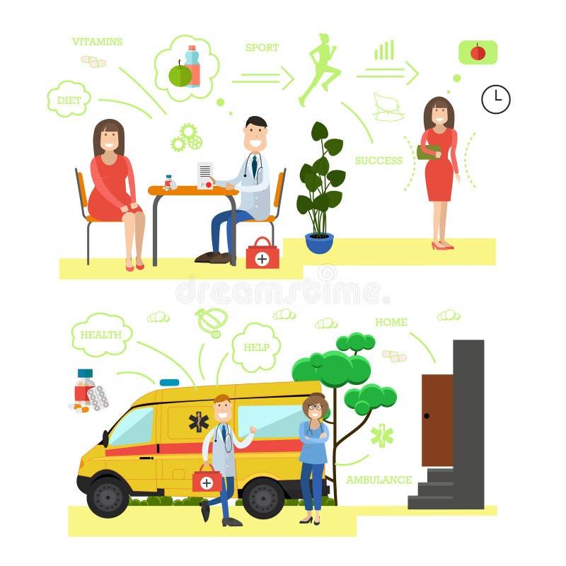 El concepto de la atención sanitaria y de la medicina vector el ejemplo en estilo plano stock de ilustración