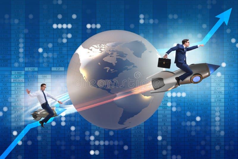 El concepto de la competición mundial con la persecución de hombres de negocios stock de ilustración