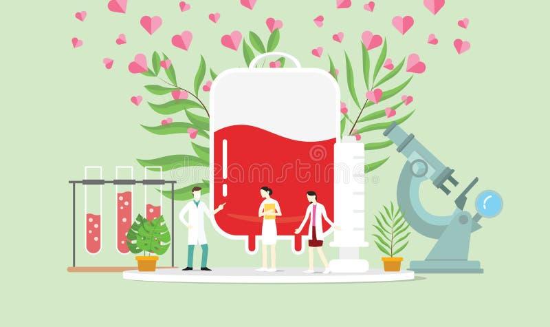 El concepto de la donación de sangre con la gente y las sangres empaquetan con la muestra del amor - ejemplo del vector stock de ilustración