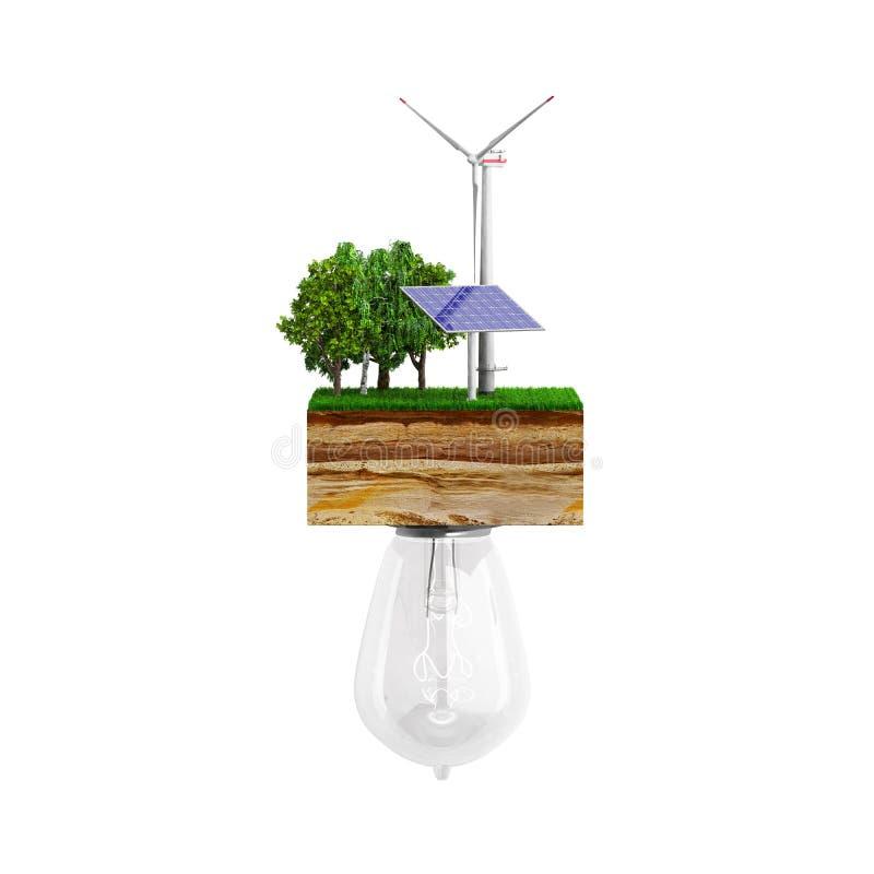 El concepto de la energía limpia el bulbo está conectado con un embrague de la tierra stock de ilustración