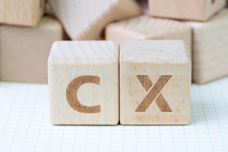 El concepto de la experiencia del cliente, cubica el bloque de madera con el alfabeto CX, fotos de archivo libres de regalías