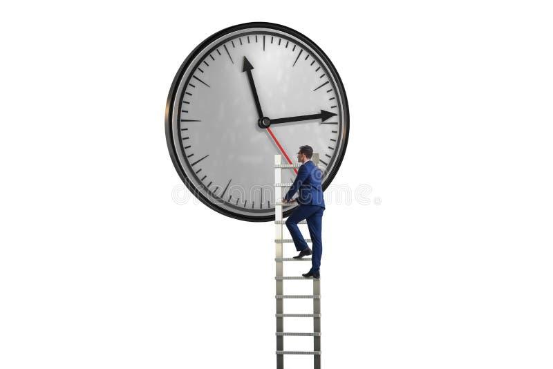 El concepto de la gestión del hombre de negocios a tiempo foto de archivo