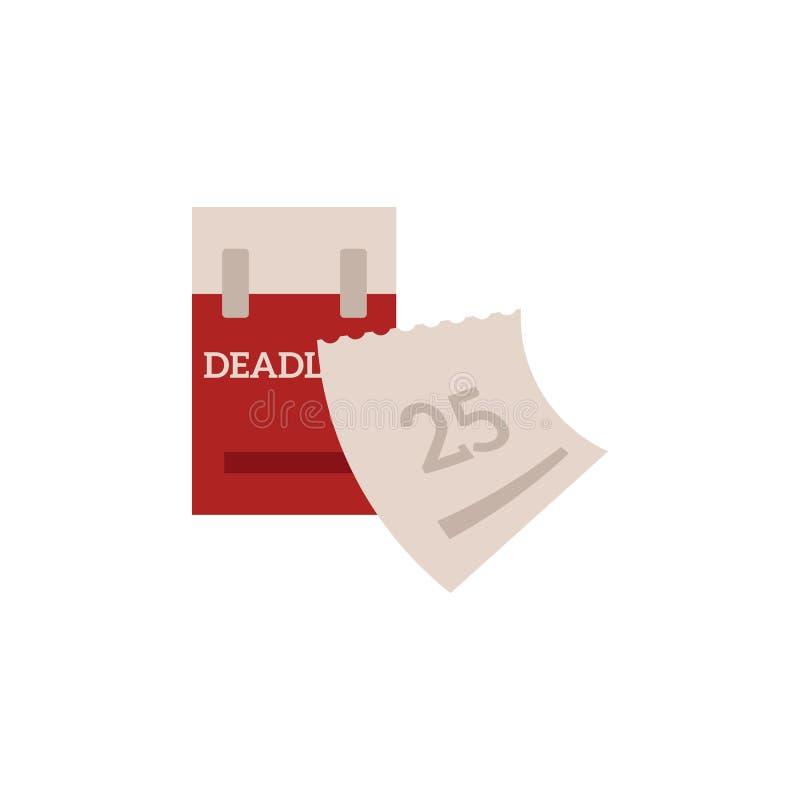 El concepto de la gestión del plazo y de tiempo con rasga el calendario y la fecha próxima marcados en rojo stock de ilustración