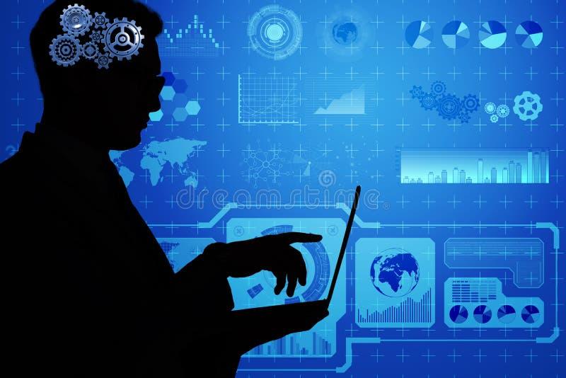 El concepto de la inteligencia artificial con el hombre y el ordenador portátil ilustración del vector