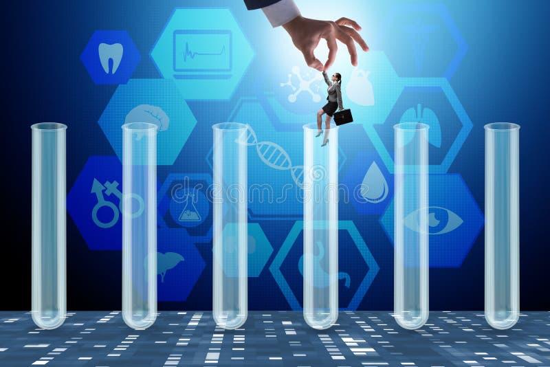El concepto de la inteligencia artificial con la empresaria fuera del tubo stock de ilustración