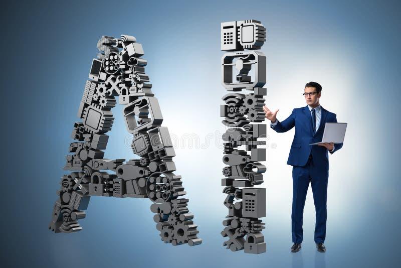 El concepto de la inteligencia artificial con el hombre de negocios fotos de archivo