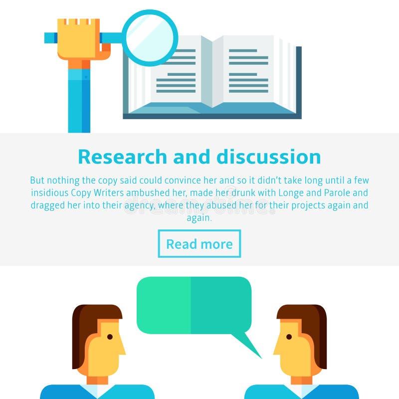 El concepto de la investigación y de la discusión vector el ejemplo en estilo infographic plano libre illustration