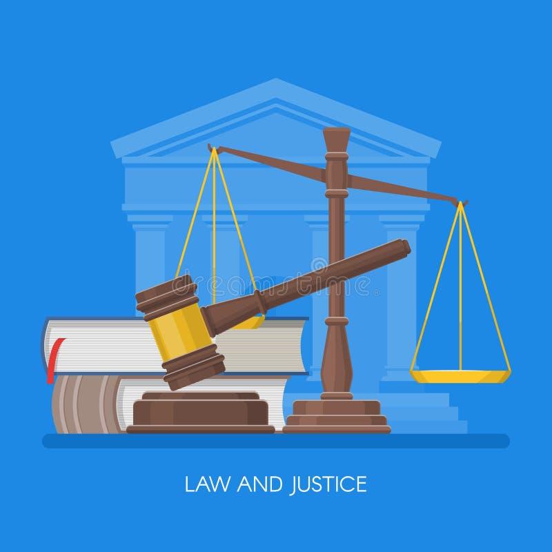 El concepto de la ley y de la justicia vector el ejemplo en estilo plano Elementos del diseño, símbolos, iconos libre illustration