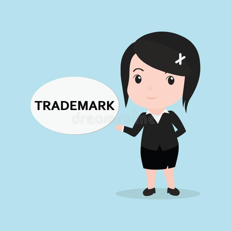 El concepto de la mujer de negocios por el mensaje es marca registrada libre illustration