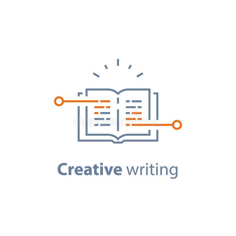 El concepto de la narración, escritura creativa, abre el libro, preparación del examen, aprende la gramática, leyó el breve resum stock de ilustración