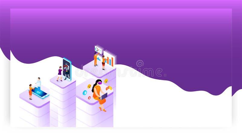 El concepto de la realidad virtual basó diseño con la gente que usaba diverso app del servicio social libre illustration