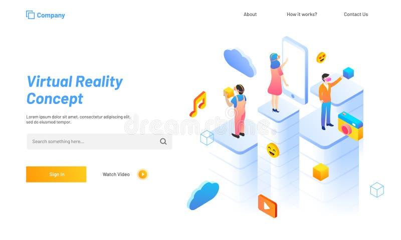 El concepto de la realidad virtual basó el diseño de la página del aterrizaje, gente con s stock de ilustración
