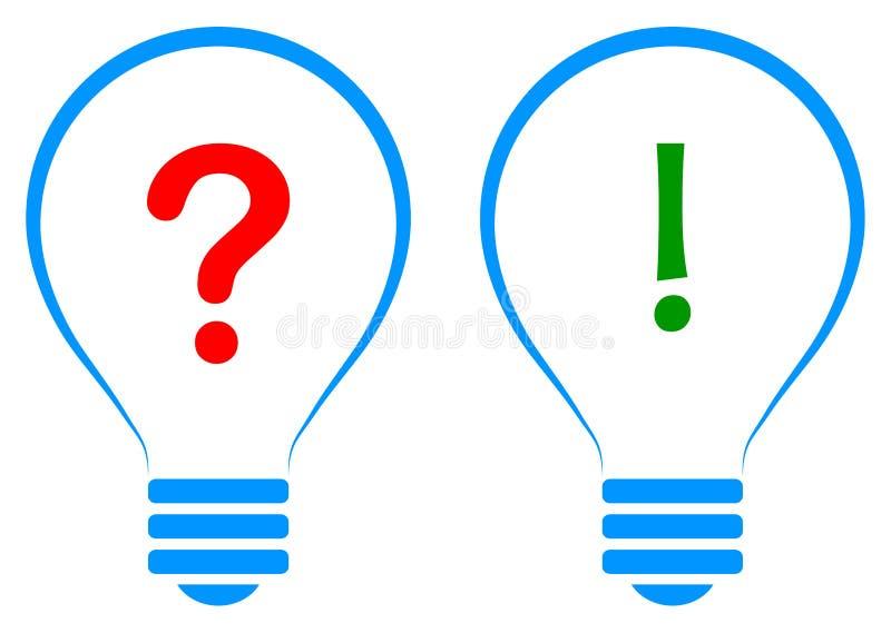 El concepto de la solución de la idea de la bombilla con la pregunta y la respuesta firma ilustración del vector