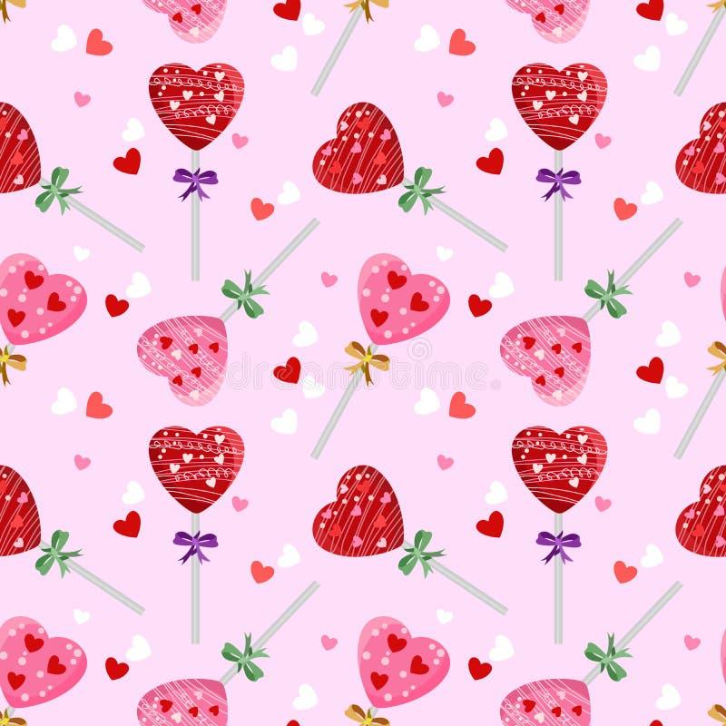 El concepto de la tarjeta del día de San Valentín dulce con el modelo de la piruleta de la forma del corazón stock de ilustración
