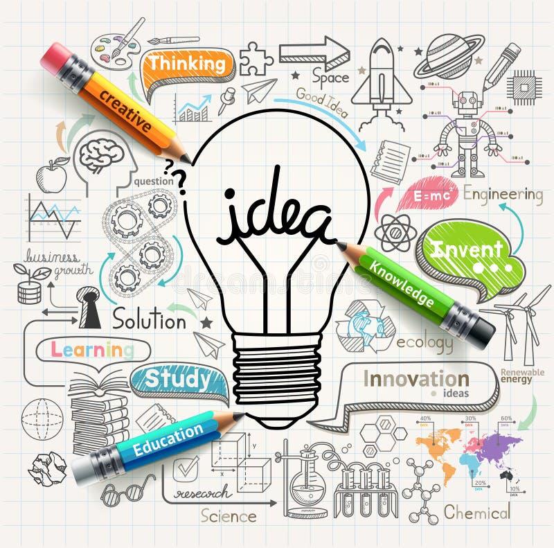 El concepto de las ideas de la bombilla garabatea los iconos fijados stock de ilustración
