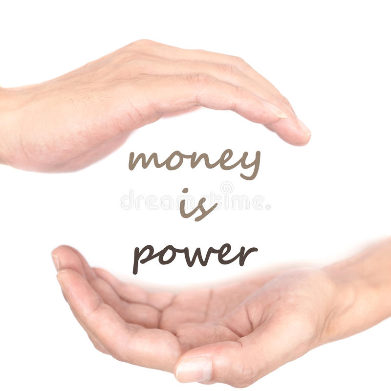 El concepto de las manos para el dinero es poder imagenes de archivo