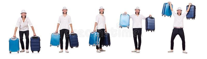 El concepto de las vacaciones del viaje con equipaje en blanco imagen de archivo