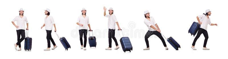 El concepto de las vacaciones del viaje con equipaje en blanco fotos de archivo