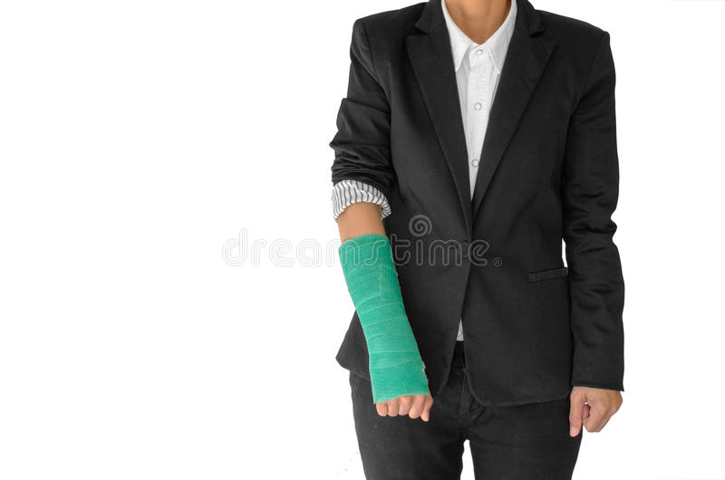 El concepto de lesión del cuerpo, empresaria herida con verde echó en la ha foto de archivo libre de regalías