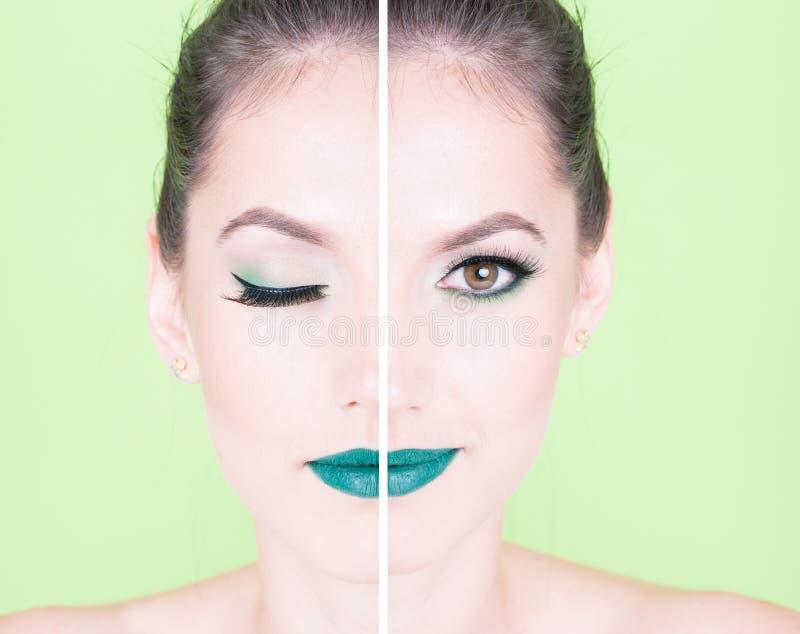 El concepto de media mujer de la cara con de moda compone foto de archivo