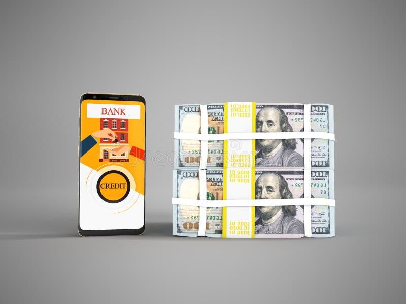 El concepto de préstamo a través del teléfono en el banco en los dólares 3d rinde en GR stock de ilustración