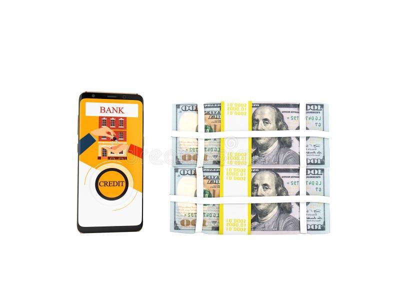 El concepto de préstamo a través del teléfono en el banco en los dólares 3d rinde en wh libre illustration