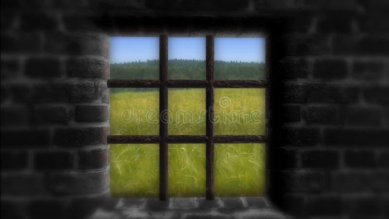 El concepto de privación de la libertad Detrás de la pared a la vida hermosa imagen de archivo